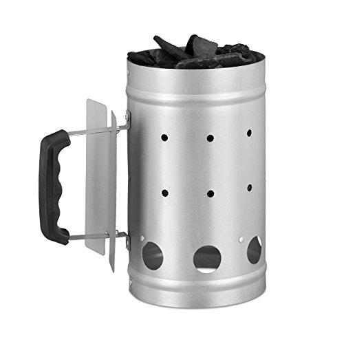 Relaxdays Anzündkamin, aus Stahl, Grillkohleanzünder für BBQ, Kamin, Grills, H x D: 27 x 16 cm, Grillstarter, silber
