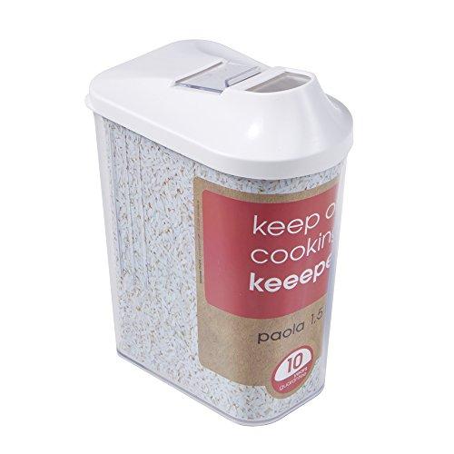 keeeper Schüttdose für Trockenvorräte, Stufenlos verstellbarer Dosierdeckel, BPA-freier Kunststoff, 1,5 l, 11,5 x 7 x 21 cm, Paola, Weiß