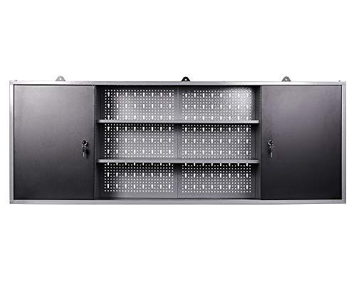 Ondis24 Werkzeugschrank Metall, Werkstattschrank 160x16x60 (H) cm, 2 abschließbare Türen, Hängeschrank mit Einlegeböden (anthrazit)