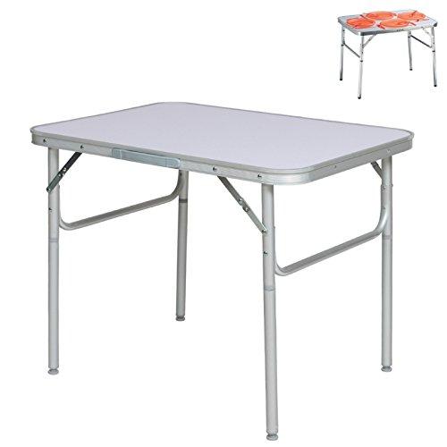 Alu Campingtisch Klapptisch 75 x 55cm nur 3.2 Kg. Gartentisch Camping Tisch Reisetisch Abstelltisch Silber / Weiß von Smartweb