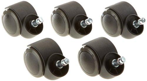 hjh OFFICE 619000 5x Hartbodenrollen für Bürostuhl ROLO Stift 10 mm / Rolle 50 mm Drehstuhl Rollen für Hartböden mit leichtgängiger weicher Lauffläche