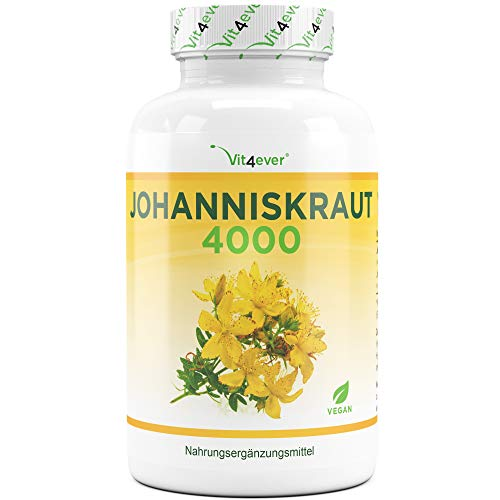 Vit4ever Johanniskraut 4000-180 Kapseln mit je 500 mg 8:1 Extrakt (entspricht 4000 mg) - Einführungspreis - Standardisierter Hypericin Anteil - Hochdosiert - Vegan