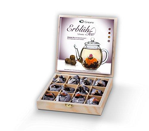 Creano Teeblumen Geschenkset in Holz-Präsentbox 'Schwarzer Tee' | 12 ErblühTee in 3 Sorten