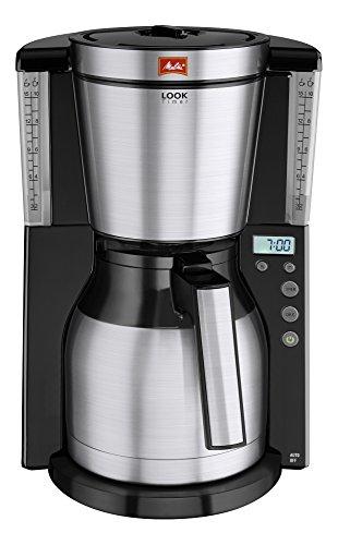 Melitta, Filterkaffeemaschine mit Thermkanne, LOOK Therm Timer, Patentierter AromaSelector, Schwarz/Edelstahl