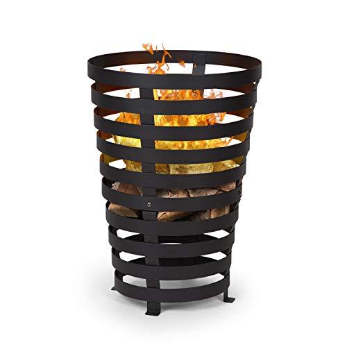 blumfeldt Verus • Feuerkorb aus Stahl • 42 cm Feuerstelle • Stabiler Stand • Vier robuste Füße • schwarz