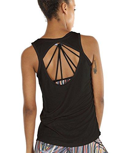 icyzone Damen Yoga Sport Tank Top - Rückenfrei Fitness Shirt Oberteil ärmellos Training Tops (S, Black