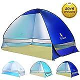 WLOVETRAVEL Strandmuschel,Outdoor Automatisches Pop Up Strandzelt, Tragbare Kabine Camping Zelt Sun Shelter für 3-4 Personen, Blau