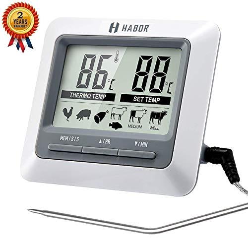 Habor Thermometer K¨¹che Digitales Grill Thermometer Bratenthermometer Fleischthermometer 2 Sonden Haushaltsthermometer Temperatur Voreinstellung, K¨¹chenwecker, Sofortiges Auslesen f¨¹r K¨¹che, Grill