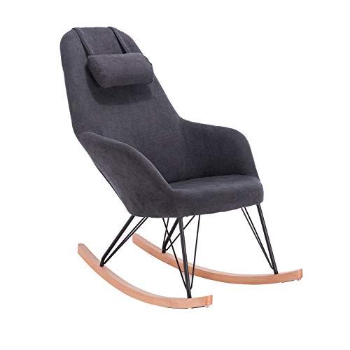 WOLTU Schaukelstuhl SKS13gr Relaxstuhl Sessel Schaukelsessel Schwingsessel Relaxliegen Stoff Stahl Massivholz Grau