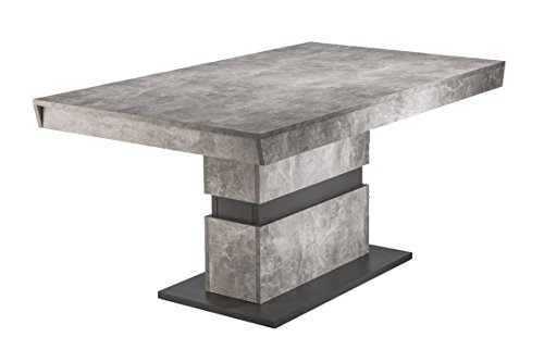 CAVADORE Esszimmertisch MARLEY / moderner Küchentisch 140 cm mit fester Tischplatte / Auszugstisch in Light Atelier Beton Optik grau / 140 x 90 x 75cm (LxBxH)