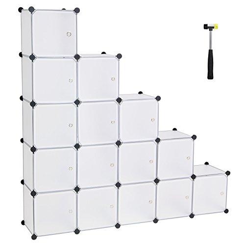SONGMICS 16 Würfel DIY Regalsystem aus Kunststoff mit Türen in modischem Weiß, stabil und einfach zu montieren, Steckregal, LPC44BS