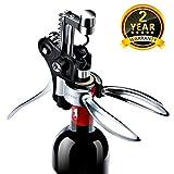 FITFORT Korkenzieher Set Flaschenöffner Wein Zubehör -Edelstahl Rotwein Öffner mit Belüfter, Vakuumpumpe und Folienschneider 5-teiliges Sommelier Set