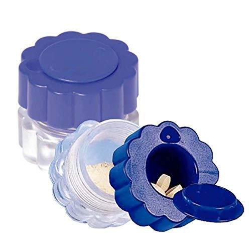 Mobiclinic Tablettenzerkleinerer mit Behälter, Tablettenteiler, blau und transparent