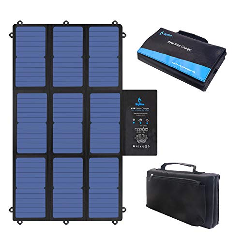 BigBlue 63W 19V Faltbares Solar Ladegerät Tragbar SunPower Solarpanel mit Dual 5V USB+19V DC- Ausgang+ USB-C-Port - für Laptop, Powerstation, iPhone, Acer, Asus, Dell, HP, 12-V-Batterie für Boote/RV