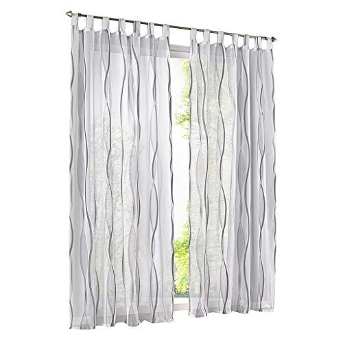 ESLIR Gardinen mit Schlaufen Vorhänge Gardinenschals Transparent Schlaufenschal Wellen Muster Voile Grau BxH 140x225cm 1 Stück