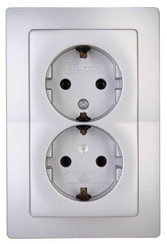 Kopp Paris Steckdose für den Haushalt mit Rahmen, 250V (16A), IP20, 2-fach Schutzkontakt-Steckdose, Unterputz, senkrechte Anordnung, silber, 941120089