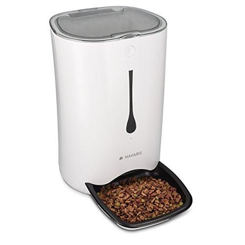 Navaris Automatischer Futterautomat mit Timer - 6L Futterspender mit bis zu 4 Mahlzeiten am Tag und akustischer Benachrichtigung - für Hund und Katze