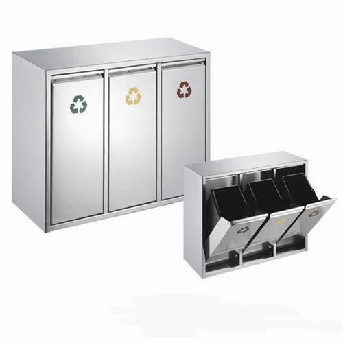 45 Liter Edelstahl Abfallsammler Abfalleimer Mülleimer Mülltrennung (45 Liter 3x15L)