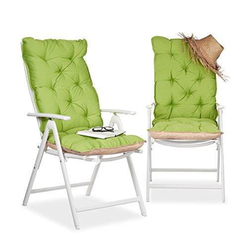 Relaxdays Stuhlauflage Hochlehner 2er Set, Polsterauflage mit Rückenlehne, Sesselauflage hoch, 120 x 50 cm, grün/beige
