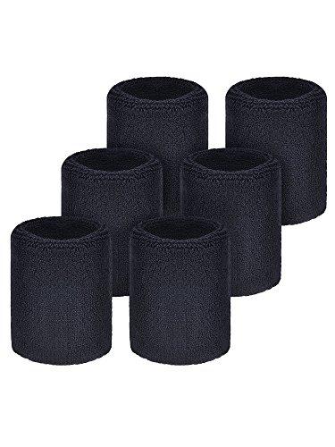 Willbond 6 Packung Sport Wristbands Absorbierende Schweißbänder für Fußball Basketball, Leichtathletik (Schwarz)