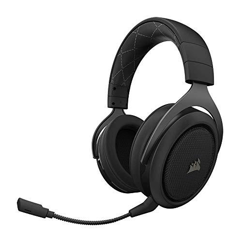 Corsair HS70 Kabelloses Gaming Headset (7.1 Surround Sound, mit abnehmbaren Mikrofon, für PC/PS4) schwarz (Generalüberholt)