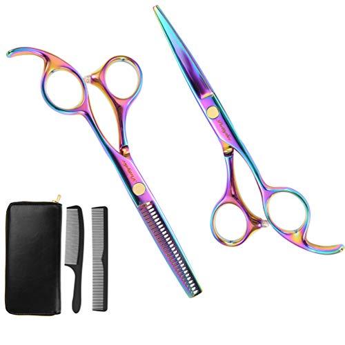 Friseurschere Set mit Kamm (5er Set) PRETTY SEE Haarscheren Set für Perfekten Haarschnitt Einfach Haare Schneiden für Damen Herren Kinder Effilierschere Set 5.5' (13.97)