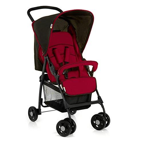 Hauck Sport Buggy, mit Liegefunktion, klein zusammenfaltbar, für Kinder ab 6 Monate bis 15 kg, schwarz rot (Tango Caviar)