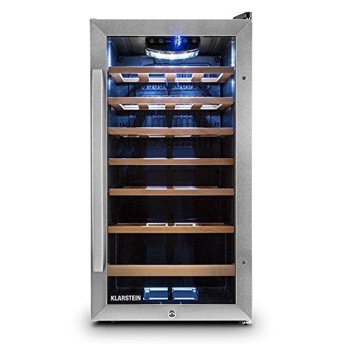 Klarstein Vivo Vino 26 • freistehender Weinkühlschrank mit Edelstahl-Glastür • kompakter Weinkühler • 88 Liter Fassungsvermögen • 26 Flaschen • Temperatur: 5 bis 18°C • Beleuchtung • schwarz-silber