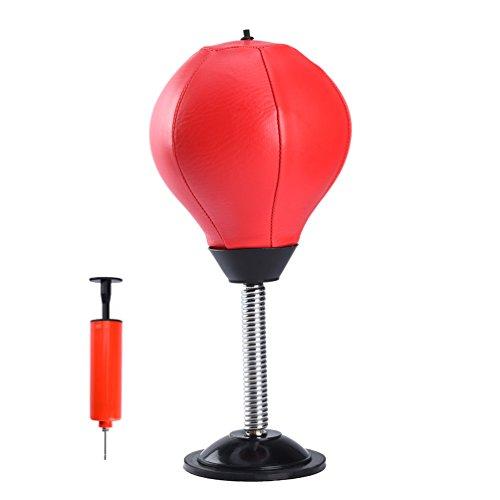 RUNACC Desktop Punching Ball Saugnapf freistehend Reflex Boxing Tasche Stanz Ständer Ball mit gratis, Luftpumpe, Rot