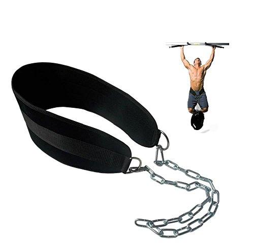 grofitness Pull Gürtel Gewichteter Dip Gürtel mit Kette doppelte D-Ring Gewichtheben Rücken Halteband Home Studio Equipment Taille Gürtel
