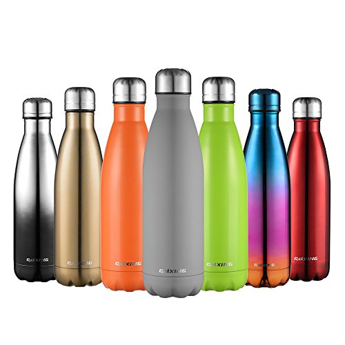 cmxing Doppelwandige Thermosflasche 500 mL/750 mL mit Tasche BPA-Frei Edelstahl Trinkflasche Vakuum Isolierflasche Sportflasche für Outdoor-Sport Camping Mountainbike (grau, 750 mL)