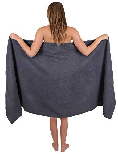 Betz Saunatuch Badetuch groß XXL Größe 80 x 200 cm Badetücher Saunatücher Palermo 100% Baumwolle Farbe anthrazit