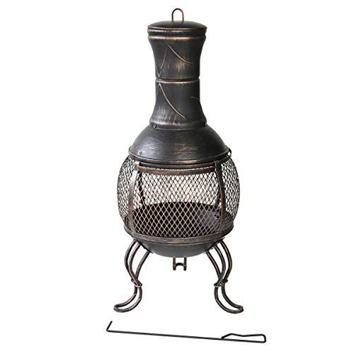 TAINO Terrassenofen Gartenofen Metall Kamin Feuerstelle BBQ Grill Deckel Schürhaken Vintage schwarz (90 cm)