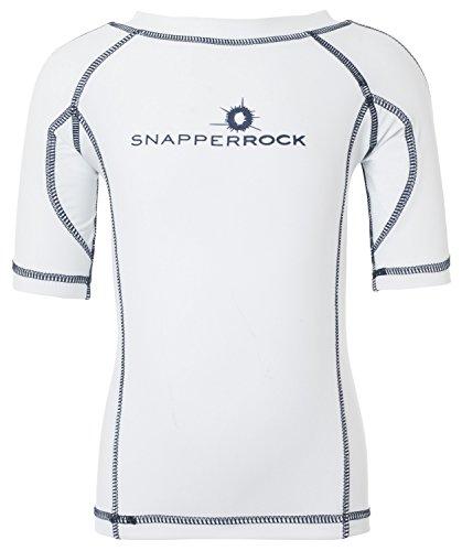 Snapper Rock Jungen & Mädchen UPF 50+ UV Schutz Kurzarm Bade Shirt Rashie für Kinder & Jugendliche Weiß/Dunkelblau 13-14 Jahre, 162-170cm