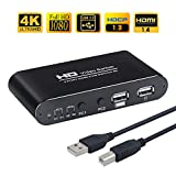 AIMOS HDMI KVM Switch, USB 2 Port PC Computer KVM Switch Tastatur Maus Umschalter Box Unterstützung 4K @ 30Hz 3D für Laptop, PC, PS4, Xbox HDTV