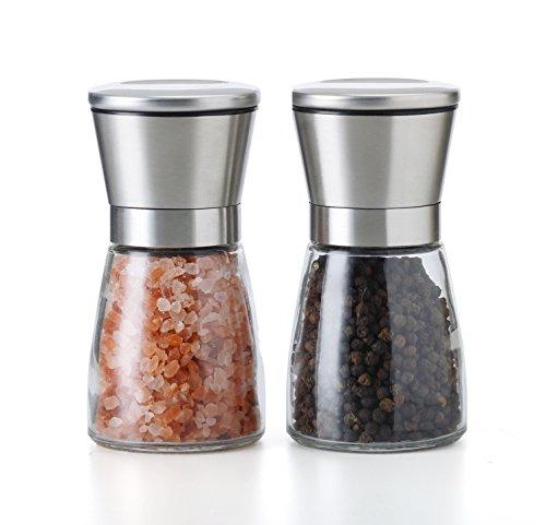 TGY Salz und Pfeffermühle Set Einstellbare Grobkörner Salz- & Pfefferstreuer Glasmühle Gebürstet