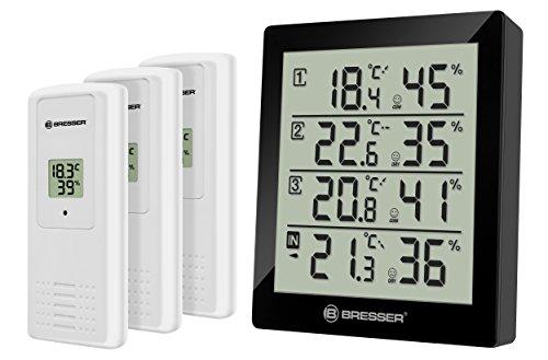 Bresser Thermometer Temeo Hygro Quadro inklusive 3 Außensensoren