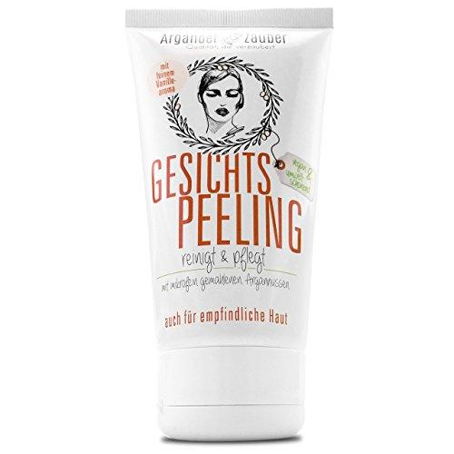 Arganöl Peeling für Gesicht & Haut | Gesichtsreinigung und Pflege gegen Pickel, Unreinheiten & trockene Haut | 150 ml Inhalt der Marke Arganöl-Zauber | Made in Germany