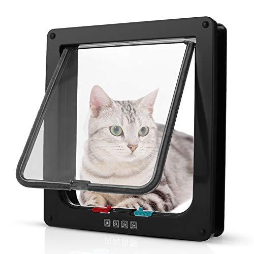 Pujuas Katzenklappe Hundeklappe mit 4-Wege-Magnet-Schließ, Haustierklappe für Katzen und kleine Hunde, Katzentüre mit Tunnel (XL, Schwarz)