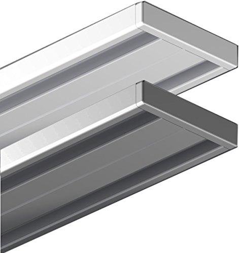 Garduna 120cm   silber   Gardinenschiene Vorhangschiene  Aluminium   1- oder 2-läufig