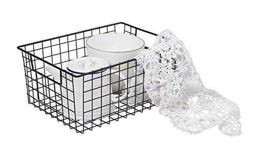 NEUN WELTEN Klassisch Aufbewahrungskorb 32 x 24 x 15cm Groß Drahtkorb aus Metall für Küche, Bad oder Vorratskammer (Groß, Schwarz)
