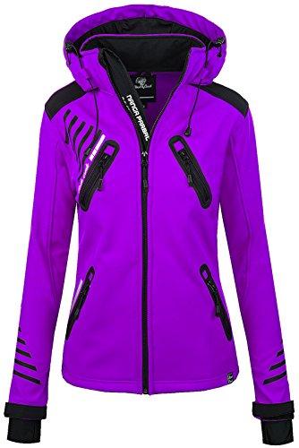 Rock Creek Damen Softshell Jacke Outdoorjacke Windbreaker Übergangs Jacke [D-390 Purple XXL]