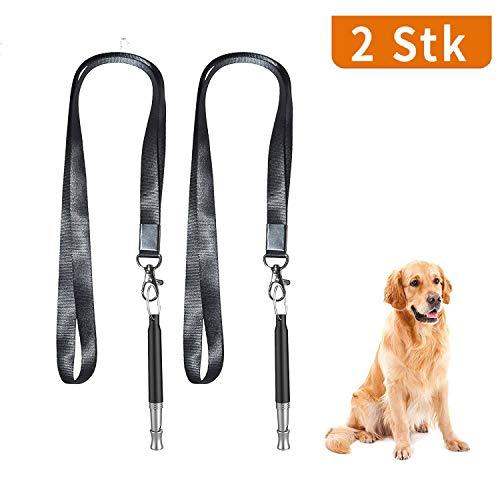elloLife [2 Stück] Profi-Hundepfeife, Ultraschall, Hochfrequenz, Verstellbar und Leise Hundepfeifen mit Schlüsselbändern für Hundetraining, Schwarz