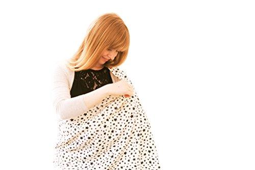 BIO Stillschal/Stilltuch von PRETTY USEFUL mit Sterne Motiv - Zum Stillen, als Accessoire und als Schutz vor Schmutz, Sonne und Wind - ideales Geschenk für Mamas zur Geburt - ORGANIC