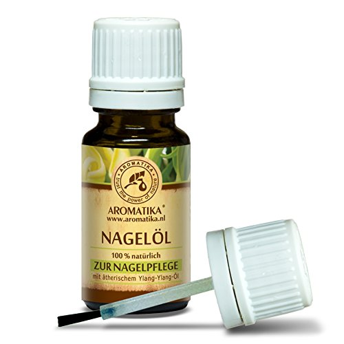 Nagelöl, Nagelhautöl mit naturreinem 100 % Zitronenöl, Ylang-Ylang-Öl, Jojobaöl und Traubenkernöl, Nägel Öl für trockene und brüchige Nägel, Nagelwachstum, Nagelstärkung, Nagelelastizität, Nagelhaut-Öl, Cuticle Nail Oil, toller Duft, Glas-Pinselflasche, 10 ml, 1er Pack (1 x 10 ml) Nagelpflege von AROMATIKA