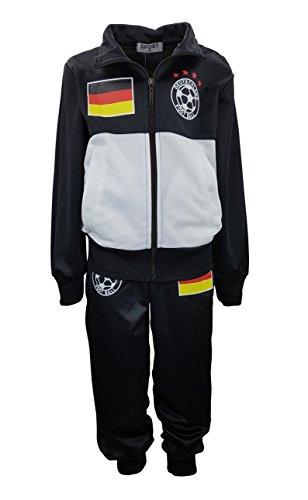 Jungen Trainingsanzug Deutschland, in Schwarz/Weiß, Gr. 110/116, JF056.6