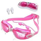 Zerhunt Schwimmbrillen, Schwimmbrille für Kinder mit Antibeschlag und UV Schutz, Ohrstöpsel mitgeliefert, für Mädchen Junge (Rosa)