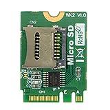 Cablecc M2 NGFF Kartenadapter-Set A.E WIFI Slot zu Micro SD SDHC SDXC TF Karte Rückseite, T-Flash Card M.2 A+E