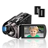 Camcorder Kenuo Full HD Videokamera 1080P 24MP 30PFS Digitalkamera für YouTube 16X Digitalzoom 3.0 '' LCD 270 Grad Drehbildschirm mit 2 Batterien