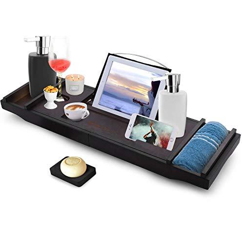 Nakey Bambus Badewannenablage ausziehbar, verstellbares Badewannenbrett mit Bücherregal, Handyhalter, Kerzenhalter, Seifenhalter, Zwei Herausnehmbaren Tabletts 75-111X23X4.5cm (BxTxH)